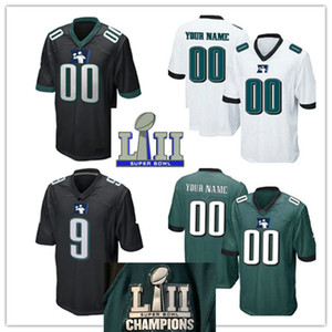 Mens womens youth kids Philadelphia Customized football Jersey White Black Green color Customized Philadelphia 2018 LII Champs Patch Jersey