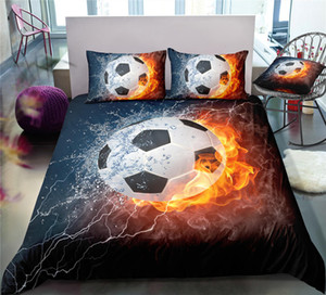 Football Printed King Size Bedding Set Flash Lightning 3D Duvet Cover Single Home Dec Queen Double Bed Set With Pillowcase 3pcs on Sale