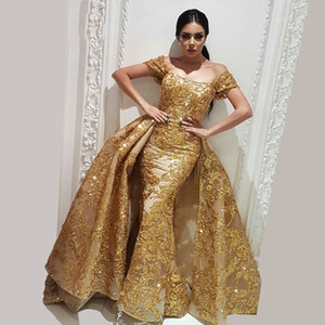 Crystal Lace Two Pieces Sparkly Dubai Sparkly Gold Evening Dress Detachable Skirt Robe de soiree Muslim Turkish Prom Gowns Removable Train on Sale