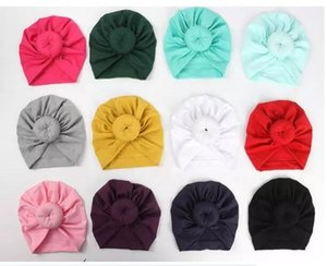 Wholesale Newest Baby hats caps with knot decor kids girls hair accessories Turban Knot Head Wraps Kids Children Winter Spring Beanie