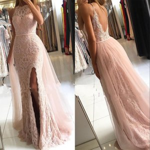 Wholesale Blush Pink Front Split Prom Dresses with Removable Skirt Modest Half Sleeves Lace Appliques Tulle Long Evening Gowns Custom Made
