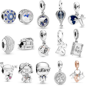 Wholesale 925 sterling silver pandora charms resale online - Fit Original Pandora Bracelet Sterling Silver Air Balloon Binoculars Dangle Charm Horsetail Girl Family Charm DIY Jewelry