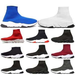 Wholesale 2019 Designer Shoes Speed Trainer blue Bright red Wine red triple black Flat Fashion Socks Boots Sneaker Speed Trainer Runner