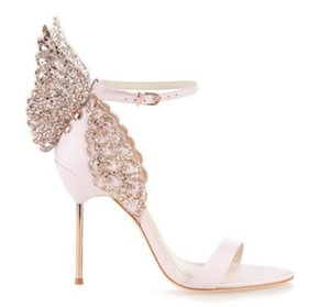 Fashion Brand Patent Leather Wedding Shoes Woman Sweet Style Sandals Butterfly Wing Thin High Heels Shoes Woman