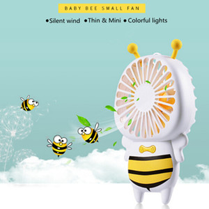 Wholesale 2019 Handy USB charge Fan Mini Bee Handle Charging Electric Fans Thin Handheld Portable Luminous Night Light For Home Office Outdoor Gifts