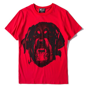 Wholesale 2019 summer Fashion brand high quality Red Men Hound Dog printing T Shirt Short Sleeve Tshirt Mens Clothing Men tops Tee S-XL