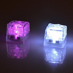 Wholesale cube decorations resale online - Auto colors Mini Romantic Luminous Cube LED Artificial Ice Cube Flash LED Light Wedding Christmas Decoration Party in stock