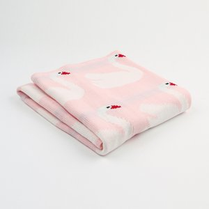 Baby Warm Winter Swan Soft Knit Blanket Newborn Infant Baby Swaddle Soft Sleeping Blanket Wrap Bath Towel 2019 Autumn New