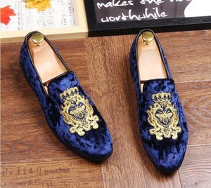 Wholesale Mens Glitter Shoes New Mens Fashion printing Casual Flats Men s Designer Dress Shoes Sequined Loafers Men s Platform Driving Shoes AX532