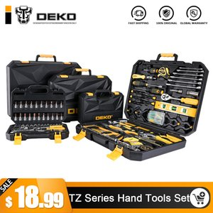 DEKO Hand Tool Set General Household Hand Tool Kit with Plastic Toolbox Storage Case Socket Wrench Screwdriver Knife on Sale