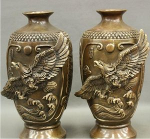 Wholesale NEW quot Chinese Bronze Eagle Hawk Bird Great Wall Statue Bottle Vase Flower Pot Pair