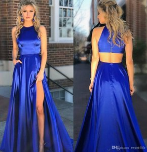 Wholesale 2019 Long Royal Blue Prom Dresses Cut Out Back High Slit Side Full Length Sexy Hollow Back Sleeveless Custom Made Stylish Party Evening Gown