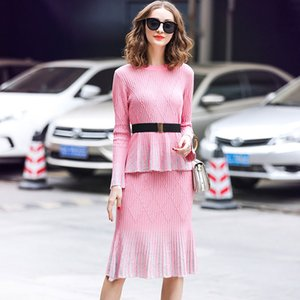 Wholesale Two Piece Set Women Skirt Sets clothing sets women two piece outfits Skirt And Top pink ol Horn sleeve bright silk knit