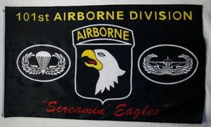 101st venda por atacado-101st Airborne Division Screamin Eagles Flag Black x5FT Printing polyester Decoration Flag With Brass Grommets