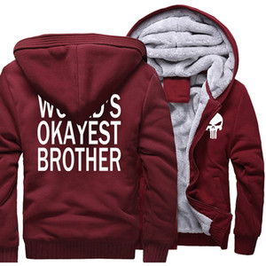 Wholesale New Fashion Hoodies For Men Hot Sale Thick Hoodie Zipper Sweatshirt Print WORLD S OKAYEST BROTHER Casual Men s Sportswear