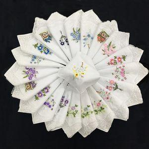 11inch Women Handkercheif Classical embroidery Cotton handkercheif for women dress decor White Cotton Handercheif Pack of 12 SP03