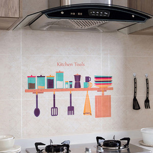 Wholesale Kitchen Waterproof Wall Stickers Oil Proof Paper Self adhesive High Temperature Anti oil Stickers Home Stove Tile Wallpaper DH0724