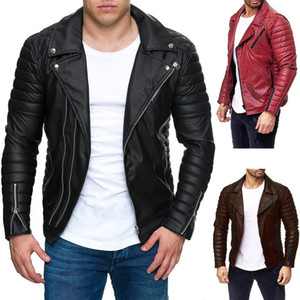 Mens Punck Winter Leather Jackets Man Lapel Neck Zipper Fly Button Coats Men High Street Slim Outwears