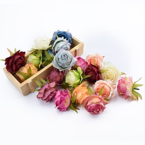Wholesale 6 Pieces artificial flowers for home decoration wedding car bridal accessories clearance diy gifts box silk roses flower wall