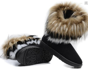 tubos calientes gratuitas al por mayor-Envío gratis Hot Fashion Rabbit hair y Fox Fur In tube Coincidencia de colores cálidos botas de invierno de nieve para mujeres damas