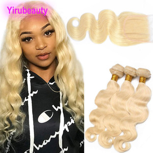 Brazilian Virgin Hair 3 Bundles With 4X4 Lace Closure 4 Pieces lot Body Wave 613# Blonde Human Hair Extensions With Closure
