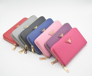 Wholesale High quality Design fashion Female exclusive Long leatherwallet logo wallets for women zipper Credit card bag Woman purses girl Billfold gif