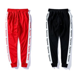 Wholesale 2019 New Arrival mens womens black red pants strip SUPRE RED letters embroidery sweatpants beam foot Trousers Jogger Running Sweatpant
