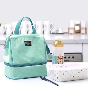 Wholesale Travel Double layer Lunch Bags Thermal Insulation Cooler Pouch Food Fresh Keeping Fruit Bento Picnic Drink Cold Organizer Tote
