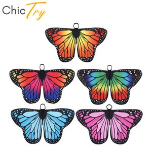 Wholesale ChicTry Kids Girls Butterfly Wings Cape Children Halloween Party Cosplay Fairy Dress Up Dance Performance Costume Accessories