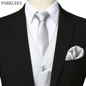 Men's Sliver Silk Waistcoat Vest Handkerchief Necktie Bowtie Party Wedding Tuxedo Vest Men Business Casual Vests 4 Piece Set 3XL