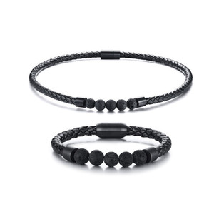 Wholesale Mens Men Boho Hippie Jewelry Set Lava Rock Braided Leather Choker Necklace and Bracelet Mens Accessories