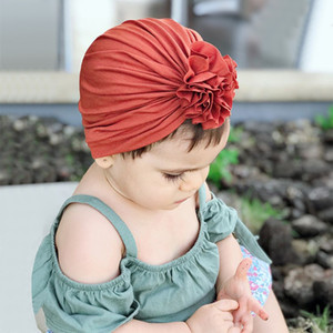 Wholesale Winter Autumn Baby Flower Hat Indian Fashion Hat Girl Boys Fashion Cute Hat Soft Elastic Newborn Baby Hats Knot caps