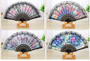 Wholesale Floral Folding Hand Fan Flowers Pattern Lace Fan For Wedding Dancing Church Party Gifts Party Favor Craft Spanish Flower Fans