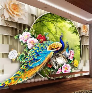 Wholesale garden wallpaper for living room for sale - Group buy 3d murals wallpaper for living room Peacock Garden D TV Background Wall