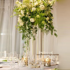 Wholesale flower arrangement centerpieces for weddings resale online - New style Painted black white sliver Gold flower candle holder arrangement stand for table wedding centerpieces senyu0344