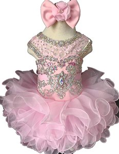 Wholesale baby girls' pageant dresses for sale - Group buy Gorgeous Toddler Cupcake Pageant Dresses Little Baby Girls Toddler Lace Crystal Beading Short Mini Formal Party Prom Gown
