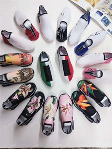 Wholesale 19S HOT Branded Men Fabric Stretch Jersey Sorrento Slip on Sneaker Designer Lady Two tone Rubber Micro Sole Breathable Casual Shoes
