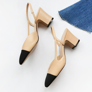 Wholesale 2019 New Arrival Mixcolor Lady Slingbacks Low heel Fashion Hot Spring Summer Woman Dress Shoes