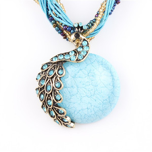 Wholesale Bohemia Necklace Crack Peacock Pendant Multilayer Colorful Natural Stone Beads Chain Vintage Necklace Jewelry Fashion For Women