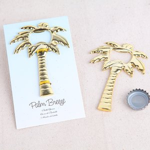 Wholesale Wedding Favors Coconut Palm Tree Breeze Gold Alloy Beer Bottle Opener Party Gifts Supplies Free DHL