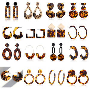 Wholesale acrylics sheets for sale - Group buy New Tortoise Color Leopard Print Acrylic Acetic Acid Sheet Geometric Circle Square Long Drop Earrings Hot Animal Ear Stud for Women