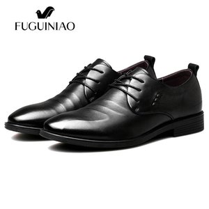 Wholesale 2017 men s Breathable dress shoes new shipping FUGUINIAO Genuine Leather perforated Men s black Business Shoes