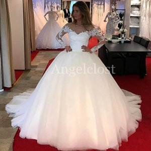 Luxury Long Sleeves Ball Gown Wedding Dresses 2019 Sheer Neck Sweep Train Lace Appliques Beaded Modest Princess Bridal Gowns Customized