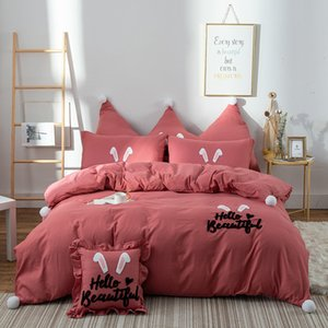 Wholesale hello kit resale online - Washed Cotton Bedding Embroidered Ears Hello Beautiful Pattern Bed Sheets Quilt Cover Kit Comfortable Breathable