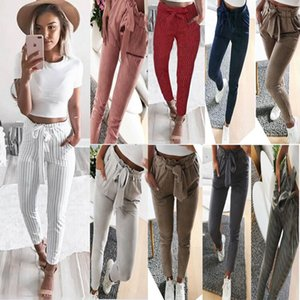 Wholesale Women Sexy Fashion Striped Slim Skinny Casual High Waist Pencil Long Pants Trousers Flat Drawstring Bodycon Solid Pants