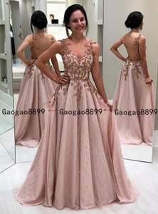2019 gorgeous sexy Prom Dresses spaghetti with 3d lace appliques beaded pearls Evening Gowns Special Occasion Dress vestidos de novia on Sale