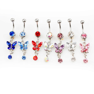 D0347( 6 colors ) mix colors Belly Button Navel Rings Body Piercing Jewelry Dangle Accessories Fashion Charm Butterfly 20Pcs Lot