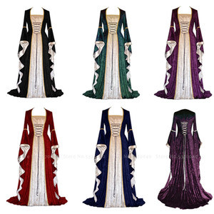 Wholesale Women Medieval Victorian Queen Princess Velvet Formal Evening Dress Retro Court Noble Outfit Halloween Elf Party Cosplay Costume