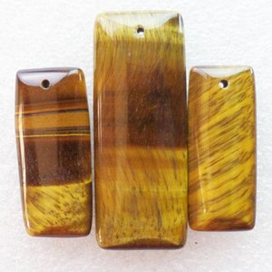 New Natural 3pcs Set Tiger Eye Gem Oblong Gemstone Jewelry Pendants Beads Sets for Necklaces Making Wholesale