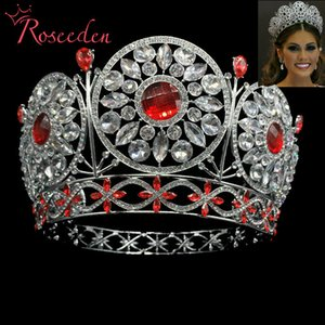 Wholesale Classic miss Universe crown big red rhinestone full round Metal alloy tiara crowns for beauty pageant hot sale RE3029 C18112001